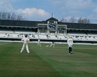 クリケットの試合をする4人  ロンドン イギリス