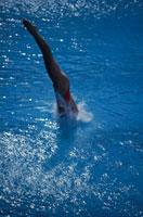 プールへ飛びこむ女性の足