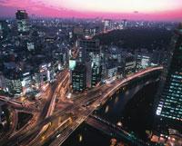 ハイアングルからの赤坂見附夕景 港区 東京都