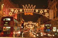 リージェントストリートのクリスマス  ロンドン イギリス