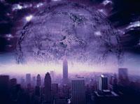 ニューヨークに昇る月のイメージ CG