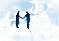 地球のネットワークと握手する人物の光のイメージ CG