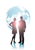 男女のシルエットと地球儀 CG