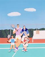 ペーパークラフト テニスのファミリー