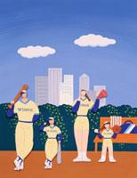 ペーパークラフト 野球のファミリー