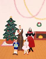 ペーパークラフト クリスマスのファミリー