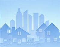 ペーパークラフトで作られたビル群と家(水色)