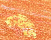 紅葉と扇と和紙(オレンジ色)  フォトイラスト