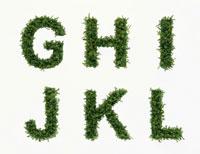 草で作られたアルファベットの文字(G〜L)