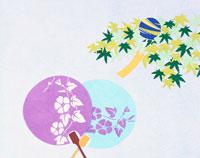 和風切り絵 風鈴と青楓と団扇