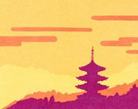 和風切り絵の五重塔
