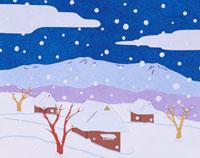 和風切り絵 雪と家