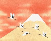 和風切り絵 富士山と鶴