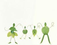 葉っぱで作った4人家族 デザインフォト