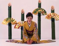 振り袖姿の日本人女性