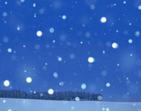 雪降る丘の落葉樹の並木
