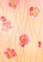 梅の花と和風イメージCG