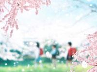 桜と小学生 02022347365| 写真素材・ストックフォト・画像・イラスト素材|アマナイメージズ