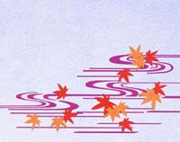 流れと紅葉の和風の切り絵