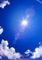 球面状の青空と太陽の光線