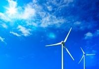 風車と青空に太陽