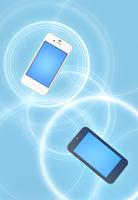 二台のスマートフォンと通信イメージ