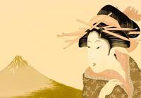 浮世絵の女性と富士山