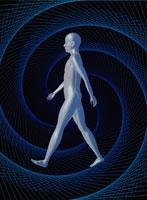 メタリックな歩く人イメージ CG