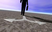ビジネスマンの足元の矢印 CG