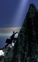 山を登るビジネスマン CG