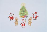 クリスマスツリーのまわりのサンタクロースとトナカイ イラスト