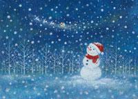 雪景色の中に立つ雪だるま イラスト