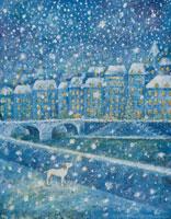 町に降る雪景色と犬 イラスト