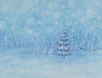 雪原のクリスマスツリー イラスト