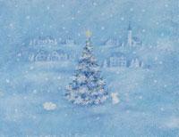 雪原のクリスマスツリーとウサギ イラスト