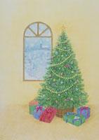 窓辺のツリーに置かれたギフト イラスト
