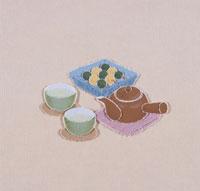日本茶とお団子のきり絵