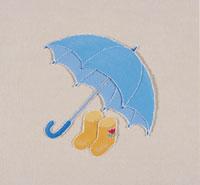 雨傘と長靴のきり絵