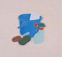 掃除グッズ(バケツ,タワシ,洗剤)のきり絵