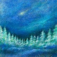 流れ星と針葉樹の森