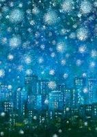 雪降る都会の夜