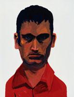 にらむ赤いシャツの男性 イラスト