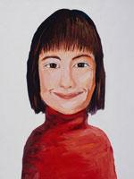微笑む赤い服の女性 イラスト