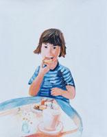 ごはんを食べている子供 イラスト