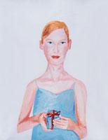 プレゼントを手に持っている女性 イラスト