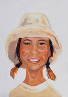 帽子を被った外国人女性 イラスト