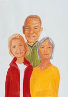 中高年の3人の男女 イラスト
