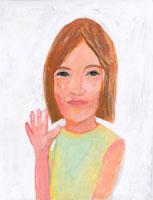 手を上げる日本人女性 イラスト