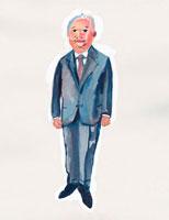 スーツを着た日本人の中高年男性 イラスト