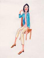 いすに座る日本人女性 イラスト 02112010159| 写真素材・ストックフォト・画像・イラスト素材|アマナイメージズ